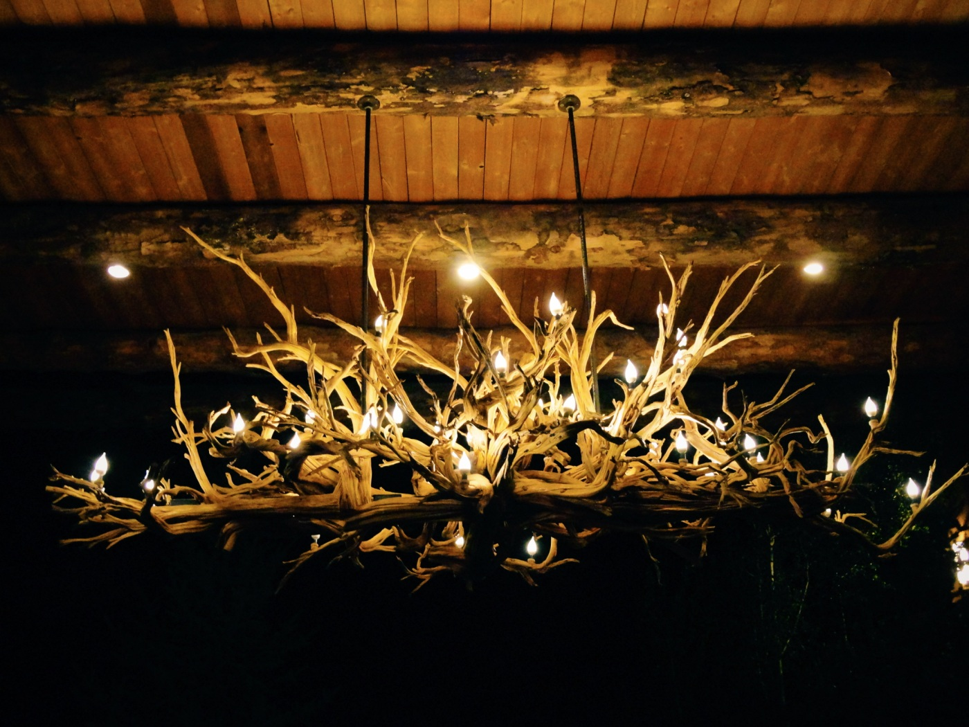 Wooden chandelier at El Monte Sagrado in Taos, New Mexico