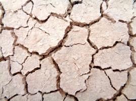 Cracked ground in Badlands National Park in South Dakota