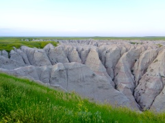 View from Burns Basin Overlook at sunset in Badlands National Park in South Dakota