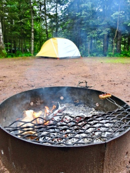 Campsite in Amnicon Falls State Park in Wisconsin