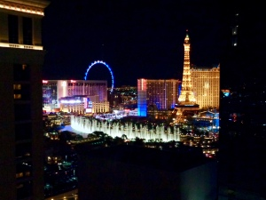 View of the Fountains of Bellagio from Vdara in Las Vegas, Nevada