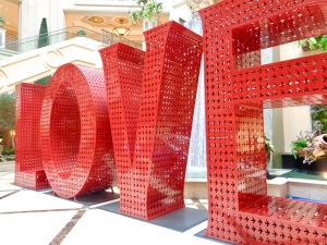 """LOVE"" by Laura Kimpton in the Waterfall Atrium at the entrance of the Grand Canal Shoppes in Las Vegas, Nevada"