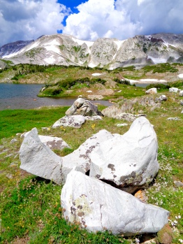 Quartzite boulders in the Snowy Range in Medicine Bow National Forest in Wyoming