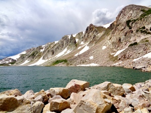 View from Gap Lakes Trail in the Snowy Range in Medicine Bow National Forest in Wyoming